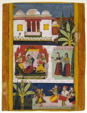 Indian. Belavala Ragini, Page from a Dispersed Ragamala Series, ca. 1680. Opaque watercolor and gold on paper, sheet: 14 15/16 x 11 1/2 in.  (37.9 x 29.2 cm). Brooklyn Museum, A. Augustus Healy Fund and Frank L. Babbott Fund, 36.253