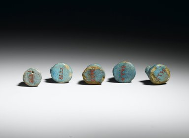 Lion-Headed Gaming Piece, 1 of 5, ca. 1938-1759 B.C.E. Faience, glazed, 3/4 x 3/4 in. (1.9 x 1.9 cm). Brooklyn Museum, Charles Edwin Wilbour Fund, 36.3.2. Creative Commons-BY