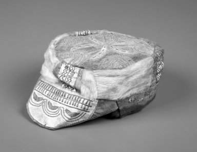 Inupiaq Eskimo (Native American). Summer Cap with elaborate design, ca. 1915. Hide, fur, 8 1/2 x 6 3/4 x 3 1/2 in. or (27.0 x 17.0 cm). Brooklyn Museum, Frank L. Babbott Fund, 36.46. Creative Commons-BY