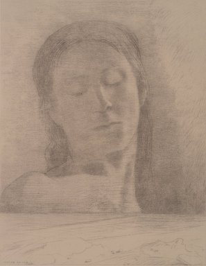Odilon Redon (French, 1840-1916). Closed Eyes (Yeux Clos), 1890. Lithograph on China paper laid down, 22 x 16 in. (55.9 x 40.6 cm). Brooklyn Museum, Brooklyn Museum Collection, 36.490