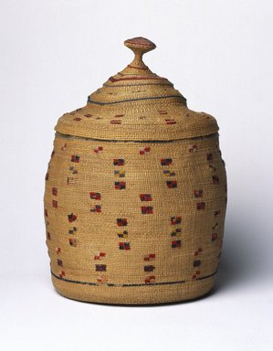 Aleut (Native American). Basket and Lid, early 20th century. Rye grass, wool, 7 1/4 x 6 1/8 x 6 1/8 in. (18.4 x 15.6 x 15.6 cm). Brooklyn Museum, Gift of Frederic B. Pratt, 36.498a-b. Creative Commons-BY