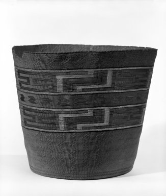 Eskimo (Arctic or Subarctic) (Native American). Twined Basket with Geometric Design, late 19th-early 20th century. Spruce root, grass, maidenhair fern, 10 3/4 x 9 1/4 in or (28.5 x 24.0 cm). Brooklyn Museum, Gift of Frederic B. Pratt, 36.505. Creative Commons-BY