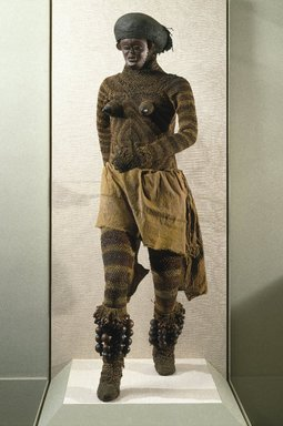 Luvale. Likishi Dance Costume Leggings, late 19th or early 20th century. Bark, rope, 41 x 25 1/4 in.  (104.1 x 64.1 cm). Brooklyn Museum, Museum Collection Fund, 36.549. Creative Commons-BY