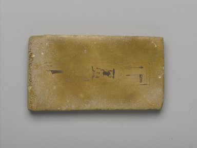 1 of 12 Inscribed Oblong Tiles or Plaques. Faience, avg. length: (14.5 cm). Brooklyn Museum, Charles Edwin Wilbour Fund, 36.619.9. Creative Commons-BY