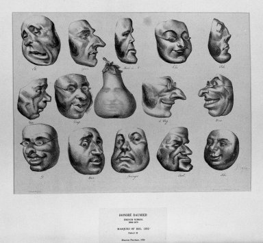 Honoré Daumier (French, 1808-1879). Masks of 1831 (Masques de 1831), March 8, 1832. Lithograph on laid down China paper, Sheet: 11 x 14 5/16 in. (27.9 x 36.4 cm). Brooklyn Museum, A. Augustus Healy Fund, 36.61