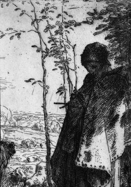 Jean-François Millet (French, 1814-1875). The Large Shepherdess (La Grande Bergère), 1862. Etching on laid paper, Image: 12 5/8 x 9 3/8 in. (32.1 x 23.8 cm). Brooklyn Museum, Charles Stewart Smith Memorial Fund, 36.65