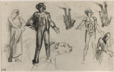 Jean-François Millet (French, 1814-1875). Studies for Harvesters Resting, n.d. Conté crayon on wove paper, Uneven: 7 1/2 x 11 5/8 in. (19.1 x 29.5 cm). Brooklyn Museum, Charles Stewart Smith Memorial Fund, 36.66