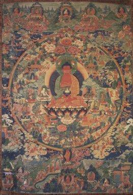 Tanka (Tibetan Ritual Painting), 19th century. Hanging scroll, opaque watercolors on sized cotton, 68 7/8 x 37 3/8 in. (175 x 95 cm). Brooklyn Museum, Gift of Herbert L. Pratt in memory of his wife, Florence Gibb Pratt, 36.748