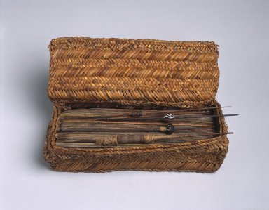 Chancay. Weaver's Work Basket, 1000-1476. Totora reed, cane, wood, clay, camelid and cotton fiber, 3 x 10 3/4 x 6 1/2 in. (7.6 x 27.3 x 16.5 cm). Brooklyn Museum, Gift of Dr. John H. Finney, 36.755.1. Creative Commons-BY