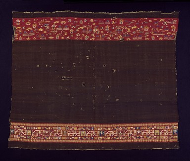 Inca. Anacu or Acsu (Woman's Dress), late 16th century. Camelid fiber and cotton with embroidered edge-stitching: Wool (camelid) weft-faced plain weave with cotton warps with bands of tapestry (single-locking junctures) and embroidered edge-stitching, 56 x 67 1/2 in. (142.2 x 171.5 cm). Brooklyn Museum, Gift of Dr. John H. Finney, 36.760. Creative Commons-BY