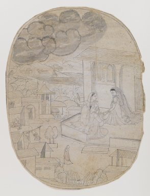 Indian. Illustration of Unidentified Love Poem, 18th century. Ink on paper, sheet: 11 x 8 1/2 in.  (27.9 x 21.6 cm). Brooklyn Museum, By exchange, 36.843