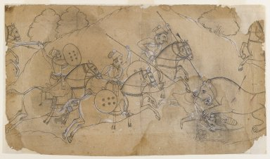 Indian. Lion Hunt, ca. 1680. Ink and color on paper, pounced for transfer, sheet: 9 1/2 x 16 5/8 in.  (24.1 x 42.2 cm). Brooklyn Museum, 36.844