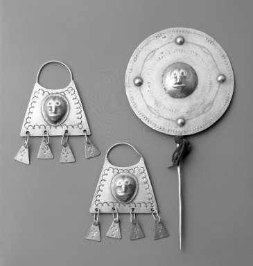 Mapuche. Pair of Earrings, 18th-19th century. Silver, a: 5 5/16 x 3 1/2 x 1/8 in. (13.5 x 8.9 x 0.3 cm.). Brooklyn Museum, Ella C. Woodward Memorial Fund, 36.931a-b. Creative Commons-BY