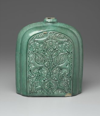 Pilgrim Flask, early 17th century. Ceramic; earthenware, molded and covered with a green glaze, 8 11/16 x 6 11/16 x 4 1/8 in. (22 x 17 x 10.5 cm). Brooklyn Museum, Gift of Mr. and Mrs. Frederic B. Pratt, 36.942. Creative Commons-BY
