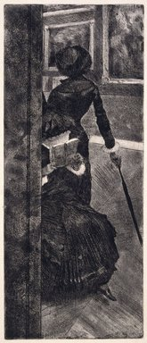 Edgar Degas (French, 1834-1917). Mary Cassatt at the Louvre: The Paintings Gallery (Mary Cassatt au Louvre: La Peinture), 1879-1880. Etching, softground etching, aquating and drypoint on Blacons wove paper, Image: 11 15/16 x 5 in. (30.3 x 12.7 cm). Brooklyn Museum, Museum Collection Fund, 36.955