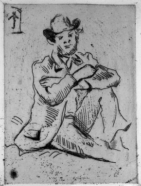 Paul Cézanne (French, 1839-1906). Guillaumin at the Hanged Man (Guillaumin au pendu), 1873. Etching on laid paper, 6 1/8 x 4 3/4 in. (15.6 x 12 cm). Brooklyn Museum, By exchange, 36.967