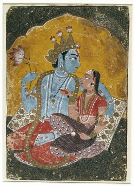 Indian. Krishna and Radha, ca. 1690-1700. Opaque watercolor with embossed gold on paper, sheet: 10 1/8 x 7 in.  (25.7 x 17.8 cm). Brooklyn Museum, Brooklyn Museum Collection, 37.122