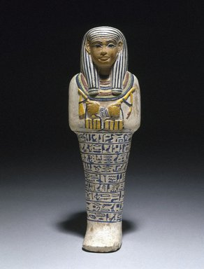 Shawabti of the Lady of the House Sati, ca. 1390-1352 B.C.E. Faience, Height 9 13/16 in. (25 cm). Brooklyn Museum, Charles Edwin Wilbour Fund, 37.123E. Creative Commons-BY