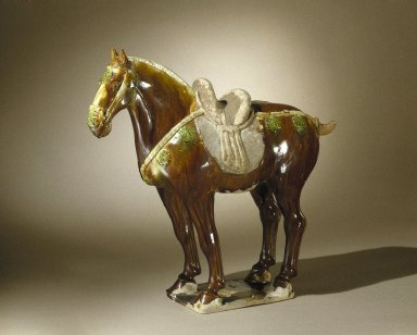 Horse, 618-907. Earthenware, brown and green lead glaze, 17 3/4 x 5 7/8 x 18 1/2 in. (45.1 x 15 x 47 cm). Brooklyn Museum, By exchange, 37.128. Creative Commons-BY