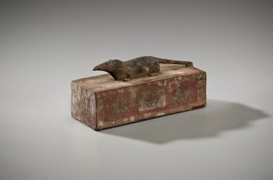 Shrew Coffin with Mummy, 664-332 B.C.E. Wood, paint, animal remains, linen, 37.1362Ea (Coffin): 3 1/16 x 2 13/16 x 6 13/16 in. (7.7 x 7.1 x 17.3 cm). Brooklyn Museum, Charles Edwin Wilbour Fund, 37.1362Ea-c. Creative Commons-BY