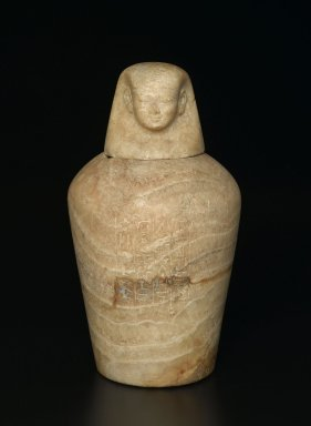 Canopic Jar, ca. 1980 - 1075 B.C.E. Alabaster, 11 x 8 5/8 in. (28 x 21.9 cm). Brooklyn Museum, Charles Edwin Wilbour Fund, 37.1380Ea-b. Creative Commons-BY
