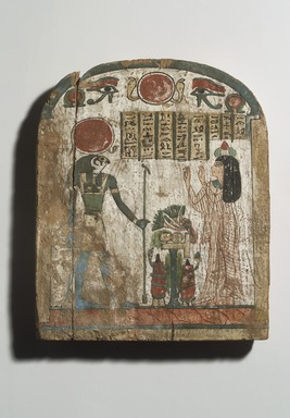 Grave Stela of Thenet, ca. 945-712 B.C.E. Wood, painted, 10 1/8 x 8 1/4 in. (25.7 x 21 cm). Brooklyn Museum, Charles Edwin Wilbour Fund, 37.1385E. Creative Commons-BY