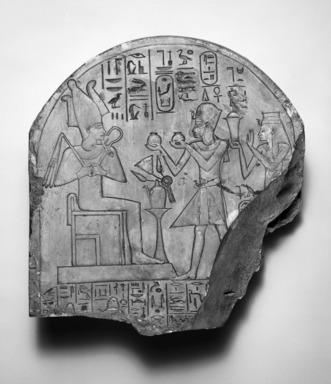 Posthumous Stela with Amunhotep I and Ahmose-Nofretary, ca. 1390-1353 B.C.E. Limestone, 11 9/16 x 10 3/4 x 3 9/16 in. (29.4 x 27.3 x 9 cm). Brooklyn Museum, Charles Edwin Wilbour Fund, 37.1485E. Creative Commons-BY