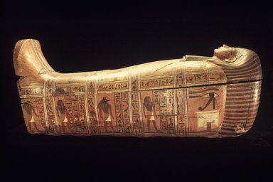 Anthropoid Coffin of the Servant of the Great Place, Teti, ca. 1339-1307 B.C.E. Wood, paint, Box with lid in place: 33 7/16 x 26 3/16 x 83 1/2 in., 248 lb. (85 x 66.5 x 212.1 cm, 112.5kg). Brooklyn Museum, Charles Edwin Wilbour Fund, 37.14Ea-b. Creative Commons-BY