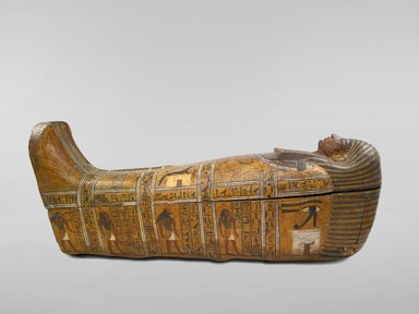 Anthropoid Coffin of the Servant of the Great Place, Teti, ca. 1339-1307 B.C.E. Wood, painted, Box with lid in place: 33 7/16 x 26 3/16 x 83 1/2 in., 248 lb. (85 x 66.5 x 212.1 cm, 112.5kg). Brooklyn Museum, Charles Edwin Wilbour Fund, 37.14Ea-b. Creative Commons-BY
