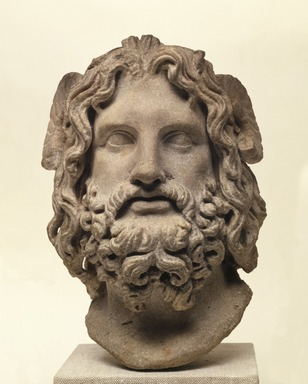 Roman. Head of Serapis, 75-150 C.E. Marble, 10 3/8 x 7 3/8 x 6 7/8 in. (26.4 x 18.7 x 17.5 cm). Brooklyn Museum, Charles Edwin Wilbour Fund, 37.1522E. Creative Commons-BY