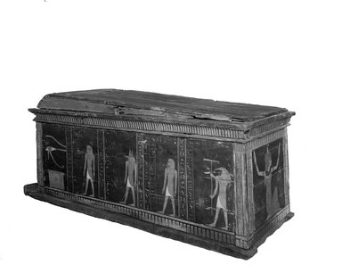Sarcophagus of Kamwese Called for Short Kami, ca. 1539-1295 B.C.E. Wood, 41 3/4 x 35 7/16 x 95 1/4 in. (106 x 90 x 242 cm). Brooklyn Museum, Charles Edwin Wilbour Fund, 37.15E. Creative Commons-BY