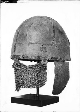 Roman. Helmet, 7th century C.E. Copper, 11 5/8 x 7 1/16 x Diam. 25 1/16 in. (29.5 x 18 x 63.7 cm). Brooklyn Museum, Charles Edwin Wilbour Fund, 37.1600E. Creative Commons-BY