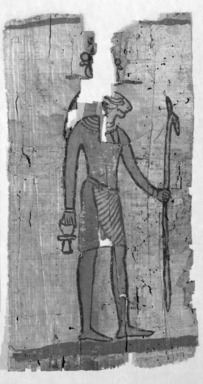 Illustrated Papyrus, 4th-3rd century B.C.E. Papyrus, paint, ink, Ea1) Fragment: 13 9/16 x 6 9/16 in. (34.5 x 16.6 cm). Brooklyn Museum, Charles Edwin Wilbour Fund, 37.1647Ea-e