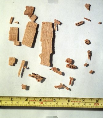 Fragments of Rhind Mathematical Papyrus, ca. 1493 - 1481 B.C.E. Papyrus, pigment, Largest Fragment: 6 5/16 x 3 3/8 in. (16 x 8.5 cm). Brooklyn Museum, Charles Edwin Wilbour Fund, 37.1784Ea-b