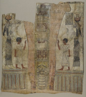Mummy Shroud, 305-30 B.C.E. Linen, gesso, paint , 40 3/8 x 35 15/16 in. (102.6 x 91.3 cm). Brooklyn Museum, Charles Edwin Wilbour Fund, 37.1811E. Creative Commons-BY