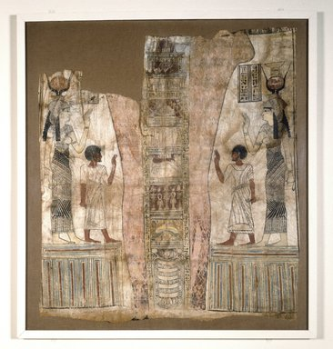 Mummy Shroud. Linen, painted, 44 11/16 x 41 5/16 x 1 3/16 in. (113.5 x 105 x 3 cm). Brooklyn Museum, Charles Edwin Wilbour Fund, 37.1811E. Creative Commons-BY