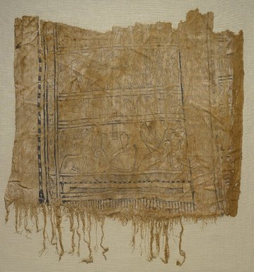 Funerary Shroud, 1st century B.C.E. or later. Linen, paint and gold leaf, 37.1815Ea: 16 15/16 x 19 5/16 in. (43 x 49 cm). Brooklyn Museum, Charles Edwin Wilbour Fund, 37.1815Ea-b. Creative Commons-BY