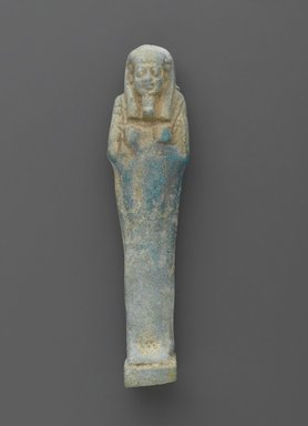 Uninscribed Shabty, 664-525 B.C.E. Faience, glazed, 4 1/8 x 1 x 3/4 in. (10.5 x 2.5 x 1.9 cm). Brooklyn Museum, Charles Edwin Wilbour Fund, 37.189E. Creative Commons-BY