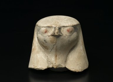 Hawk-Headed Cover of Canopic Jar, ca. 1292-1075 B.C.E. Limestone, 3 3/4 x 4 3/16 x 3 7/8 x 1 3/4 in. (9.6 x 10.6 x 9.8 x 4.4 cm). Brooklyn Museum, Charles Edwin Wilbour Fund, 37.1906E. Creative Commons-BY