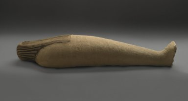 Mummified Ibis, 664-332 B.C.E. Animal remains, linen, 5 5/16 x 3 3/8 x 20 1/16 in. (13.5 x 8.5 x 51 cm). Brooklyn Museum, Charles Edwin Wilbour Fund, 37.1985E. Creative Commons-BY