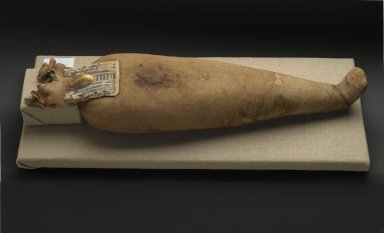 Ibis Mummy, 664-332 B.C.E. Animal remains, linen, cartonnage, painted, 6 11/16 x 3 9/16 x 22 1/4 in. (17 x 9 x 56.5 cm). Brooklyn Museum, Charles Edwin Wilbour Fund, 37.1986E. Creative Commons-BY