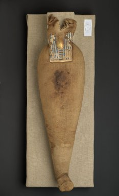 Ibis Mummy, 664-332 B.C.E. Animal remains, linen, cartonnage, paint, 6 11/16 x 3 9/16 x 22 1/4 in. (17 x 9 x 56.5 cm). Brooklyn Museum, Charles Edwin Wilbour Fund, 37.1986E. Creative Commons-BY