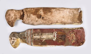 Cat Mummy in Cartonnage, ca. 760-390 B.C.E. Cartonnage, animal remains, linen, paint, 9 1/2 x 6 x 35 in. (24.1 x 15.2 x 88.9 cm). Brooklyn Museum, Charles Edwin Wilbour Fund, 37.1991Ea-c. Creative Commons-BY