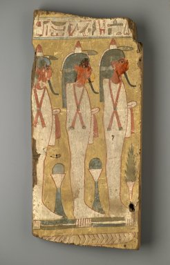 Sons of Horus on Coffin Fragment, ca. 1075–945 B.C.E. Wood, pigment, 20 1/4 x 9 9/16 x 2 in. (51.5 x 24.3 x 5.1 cm). Brooklyn Museum, Charles Edwin Wilbour Fund, 37.2043.2E. Creative Commons-BY