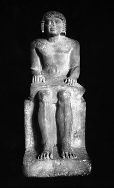Seated Statue of the Superintendent of the Granary Irukaptah, ca. 2425-2350 B.C.E. Limestone, 29 3/4 x 11 x 16 9/16 in. (75.5 x 28 x 42 cm). Brooklyn Museum, Charles Edwin Wilbour Fund, 37.20E. Creative Commons-BY