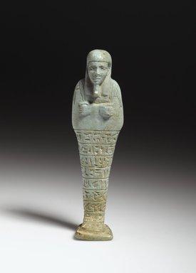 Shabty of the Chief Steward Pedi-neit, 595-589 B.C.E. Faience, glazed, 5 3/8 x 1 1/2 x 1 in. (13.7 x 3.8 x 2.5 cm). Brooklyn Museum, Charles Edwin Wilbour Fund, 37.212E. Creative Commons-BY