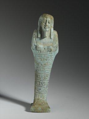 Shabty of the Chief Steward Pedi-neit, ca. 595-589 B.C.E. Faience, 5 1/4 x 1 1/2 x 1 1/4 in. (13.3 x 3.8 x 3.2 cm). Brooklyn Museum, Charles Edwin Wilbour Fund, 37.213E. Creative Commons-BY