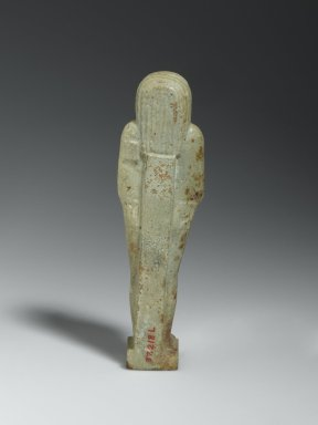 Ushabti of the Priest Nesi-Kedwet, 664-525 B.C.E. Faience, 5 11/16 x 1 9/16 x 1 3/16 in. (14.5 x 4 x 3 cm). Brooklyn Museum, Charles Edwin Wilbour Fund, 37.218E. Creative Commons-BY