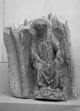 Spanish. Angel, late 13th century. Polychrome marble, 26 x 21 1/4 in. (66 x 54 cm). Brooklyn Museum, Frank L. Babbott Fund and A. Augustus Healy Fund, 37.228. Creative Commons-BY
