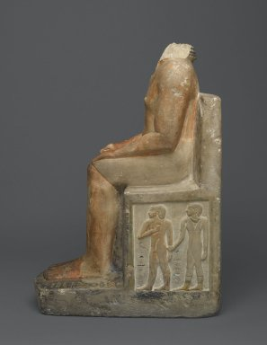 Seated Statue of Nakhtsaes, ca. 2371–2298 B.C.E. Limestone, painted, 24 1/2 x 10 1/4 x 16 3/4 in. (62.2 x 26 x 42.5 cm). Brooklyn Museum, Charles Edwin Wilbour Fund, 37.22E. Creative Commons-BY